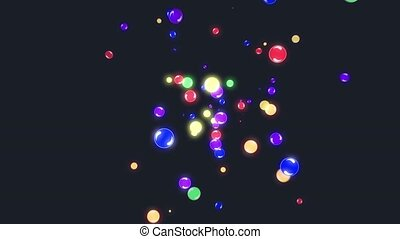 Abstract flying colorful glow balls