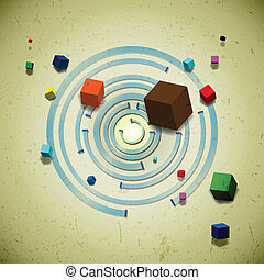 Abstract flying cubes over the concentric circles