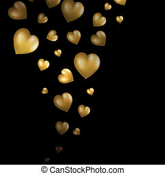 Abstract flying gold hearts on black background