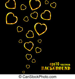 Abstract flying golden hearts on black background