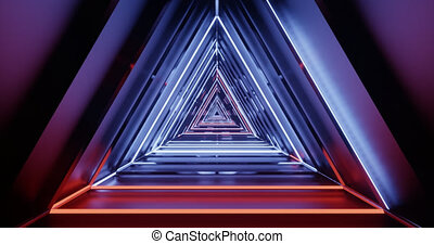 Abstract flying in futuristic corridor of triangles