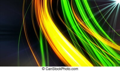 Abstract flying lines in dark space and rays, computer generated modern abstract background, 3d render