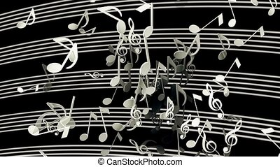 Abstract flying musical Notes in white color on black