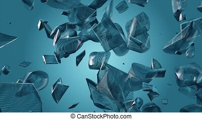 Abstract flying pieces in blue colo