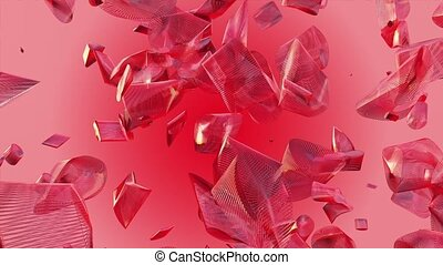 Abstract flying pieces in red color