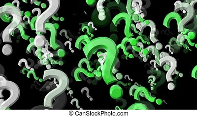 Abstract flying Question marks in green and white