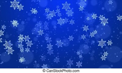 Abstract Flying snowflakes on a light Blue loop background. Winter snowflakes.