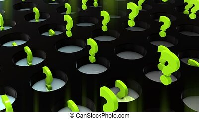 Abstract flying up question marks in green color