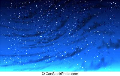 Abstract foggy night starry sky