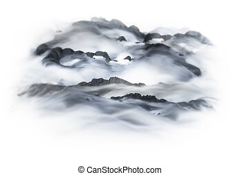 Abstract foggy winter landscape in shadews of gray and blue