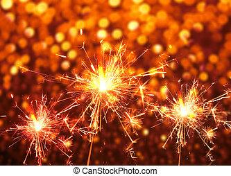 abstract., fogo, experiência., bokeh, sparkler, natal, vermelho