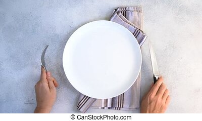 Abstract food background - empy white plate with someones...