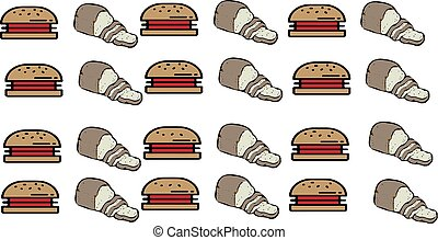 abstract food background with burger and meat