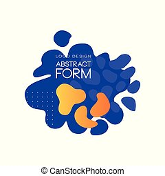 Abstract form logo design, brand identity element, artistic blots and stains vector Illustration on a white background