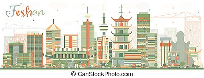 Abstract Foshan Skyline with Color Buildings.