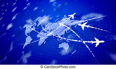 Abstract four airplanes connecting the countries