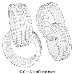 Abstract Four Car Wheel Tire Chain