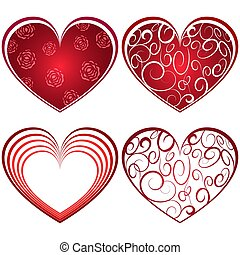 Abstract four red heart shapes