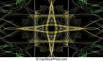 Abstract fractal anmation, yellow patterns in the shape of a cross, tunnel loop motion, nice video decoration
