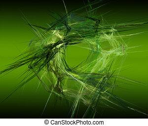 Abstract Fractal Art Green Circular Threads Object