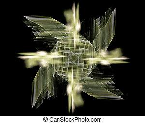 Abstract Fractal Art Green Fan Object
