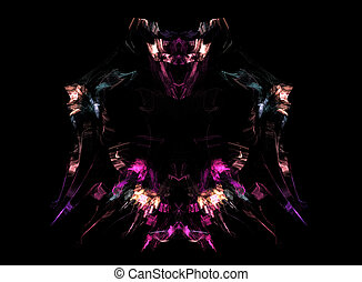 Abstract fractal background, fantasy warrior image