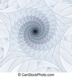 Abstract fractal blue spiral on the white background