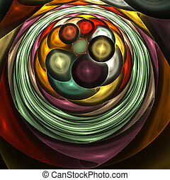Abstract fractal circles shape, bright colors, like textile layers