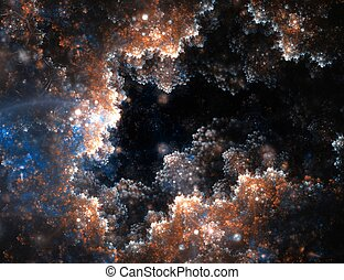 Abstract fractal clouds hole with lens flare on black ...
