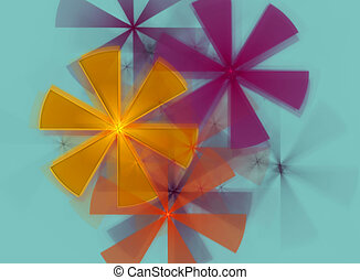 Abstract fractal colored flowers