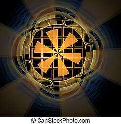 abstract fractal colored yellow background