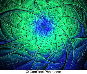 Abstract fractal design. Green whirlpool.