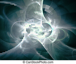 Abstract fractal design. Mosaic texture on black.