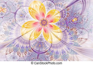 Decorative glossy flower digital artwork graphic.