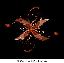 Abstract fractal flower ribbons beige