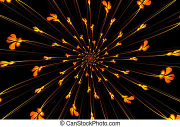 Abstract fractal flowers Japanese motifs