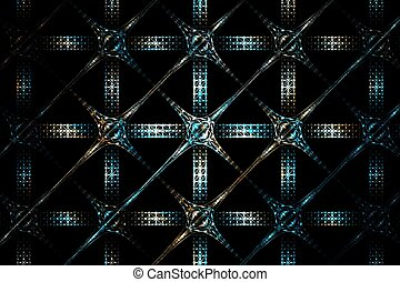 Abstract fractal geometric blue and white silver grid image