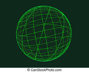 Abstract fractal green globe on ligcht background