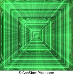 Abstract fractal green on the black background