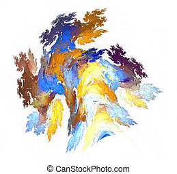 Abstract fractal illustration in yellow and blue gamma