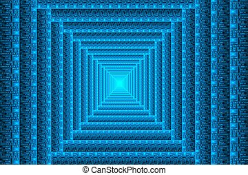 abstract fractal magic bright blue squares on a light