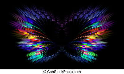 Abstract fractal multicolored neon background with butterflies. Abstract butterflies, wings, feathers. Horizontal banner.