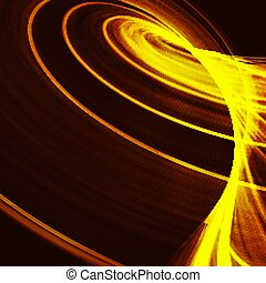 Abstract fractal orange gradient background. Light curved lines