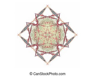 Abstract fractal red green square pattern