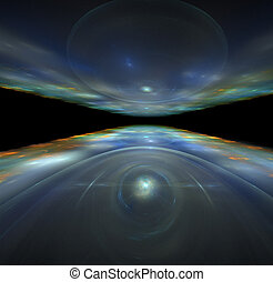 abstract fractal rendering of colourful space horizon with earth