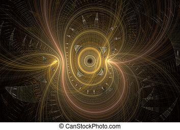 Abstract fractal spirals on dark background.