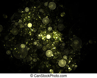Abstract fractal structure consisting of luminous spheres or bubbles. Elegance background - raster fractal 3D spheres graphics