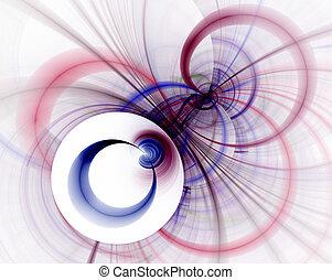 abstract, fractal, vertolking, blauw en rood, cirkels