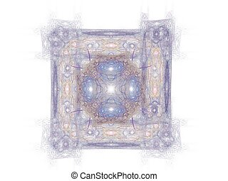 Abstract fractal with blue pattern on white background