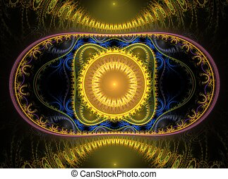 abstract fractal yellow and blue ornament on black